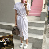 Elegant Twist Tie Waist and Front Slit Short Sleeve Midi Dress - 3 Colors