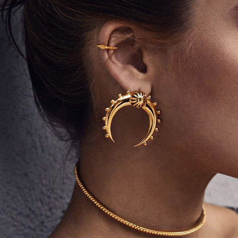 Leslie Crescent Moon Tribal Earrings