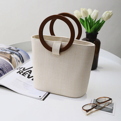 Wooden Ring Handle Tote Bag