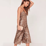 Glitter Sequin Wide Leg Jumpsuit