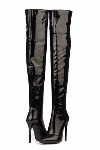 6f453cc0661 Patent Leather Over the Knee Boots - Red or Black – watereverysunday