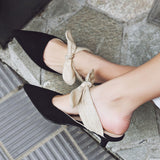 Nora Bow Tie Kitten Heel Mules - 2 Colors