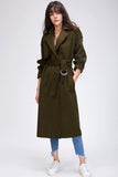 Casey Double Breasted Cotton Wool Trench Coat