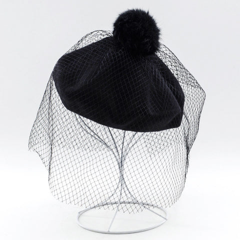 French Beret with Lace Mesh - 7 Colors