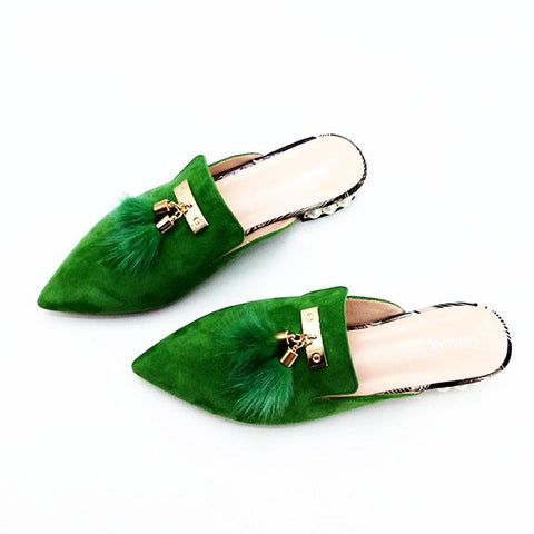 Fur Tassel Suede Mules - 3 Colors