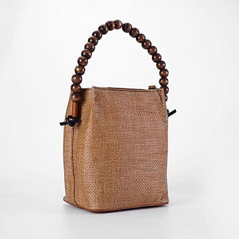 Vintage Woven Bucket Bag with Wood Beads Handle - 2 Colors