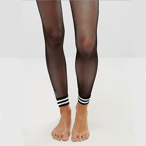 Footless Fishnet Stockings with Triband Cuffs