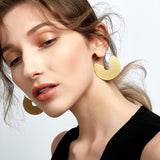 Sami Matte Disk Brass Hoop Earrings