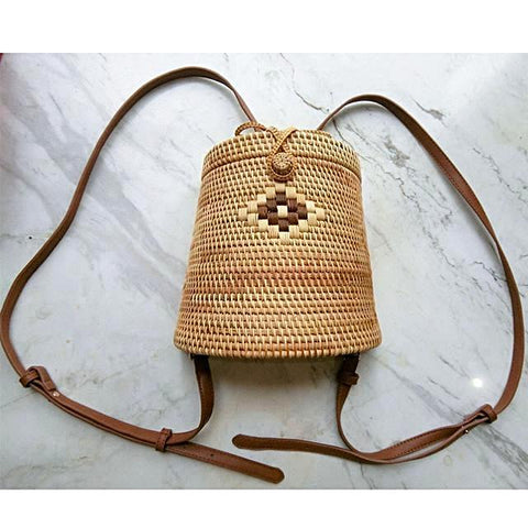 Bali Straw Rattan Backpack