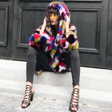 Nadia Multicolor Faux Fur Hooded Coat