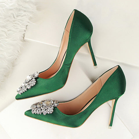 Crystal Embellished Satin Pumps - 7 Colors