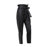 Ruffle Waist Tie Faux Leather Pants