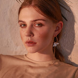 Madilyn Asymmetric chain link flower Hoop Earrings