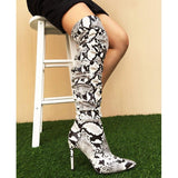 Slouchy Thigh High Snakeskin Print Boots