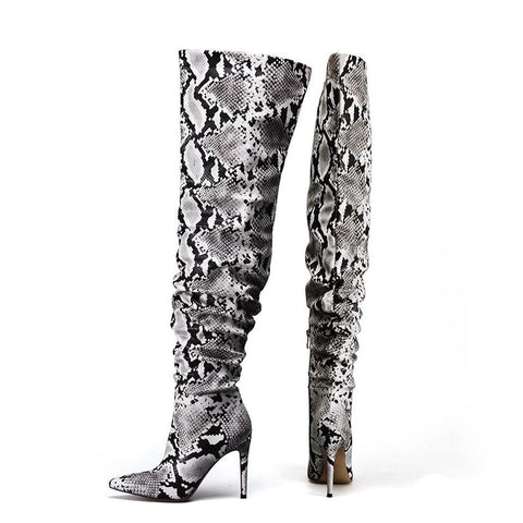 6d4d4757b794 Slouchy Thigh High Snakeskin Print Boots – watereverysunday