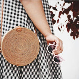 Circle Bohemian Rattan Shoulder Bag