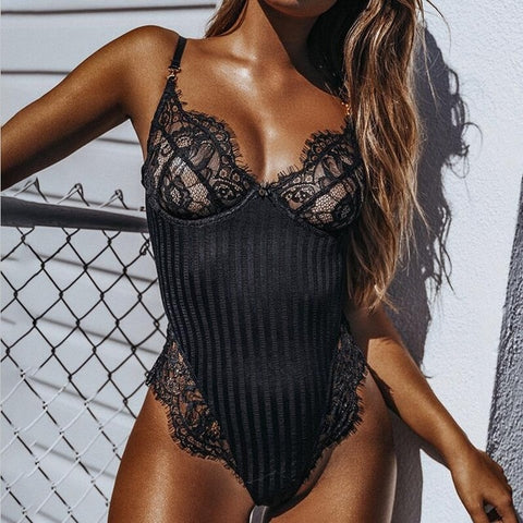 Mikaela Lace & Stripe Bodysuit - 2 Colors