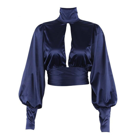 Liz Turtleneck Backless Cropped Satin Blouse
