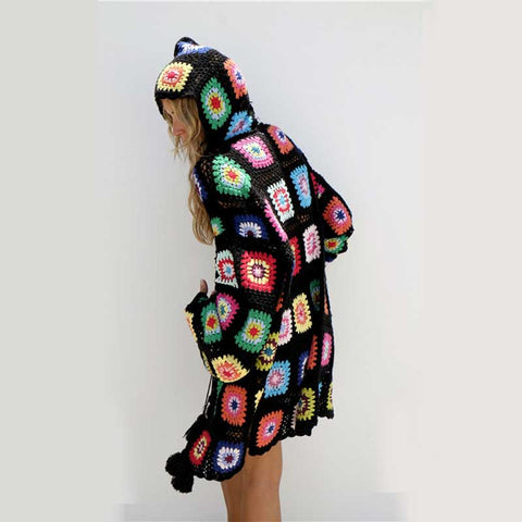 Naya Bohemian Knit Patchwork Hooded Cardigan
