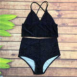 Katherine Velvet High Waist Retro Bikini Swimsuit