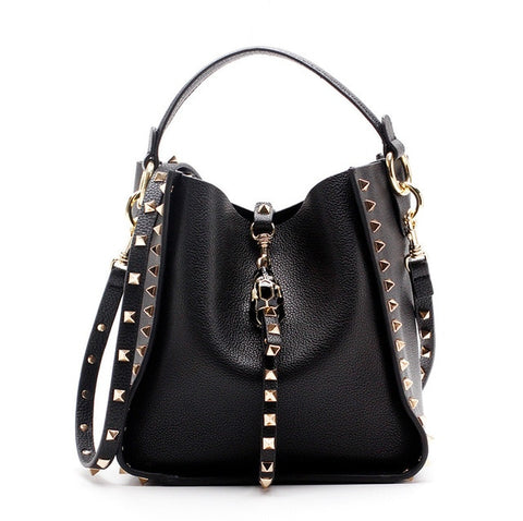 Luxe Riveted Leather Bucket Bag with Leopard Head Lock - 6 Colors