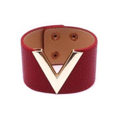 V Letter Grain Leather Cuff Bracelets - 10 Colors