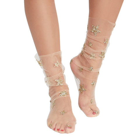 Star Glitter Tulle Socks - 3 Colors