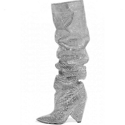 Lana Rhinestone Glitter Crystal Slouchy Boots - 2 Colors