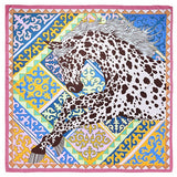 "Luxe Leopard Unicorn Prints Silk Scarves - 50""x50"", 5 Colors"