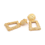 Crinkle Metal Effect Square Earrings - 6 Colors