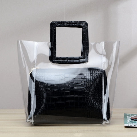 Addison Clear Tote with Square Handle and Pouch - 4 Colors