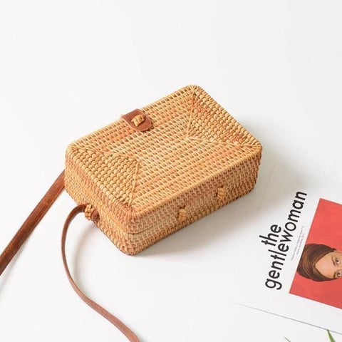 Dewi Square Rattan Mini Shoulder Bag