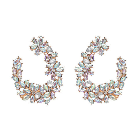 Crystal Floral Wreath Statement Earrings - 2 Colors