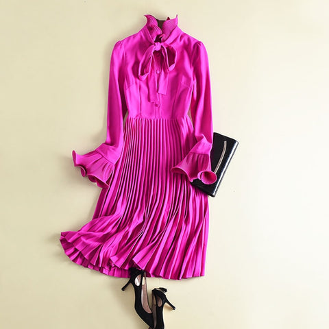 Fuchsia Pleated Ruffle Chiffon Dress