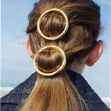 Margaret Circle Hair Clip, 2 Piece - Gold or Silver