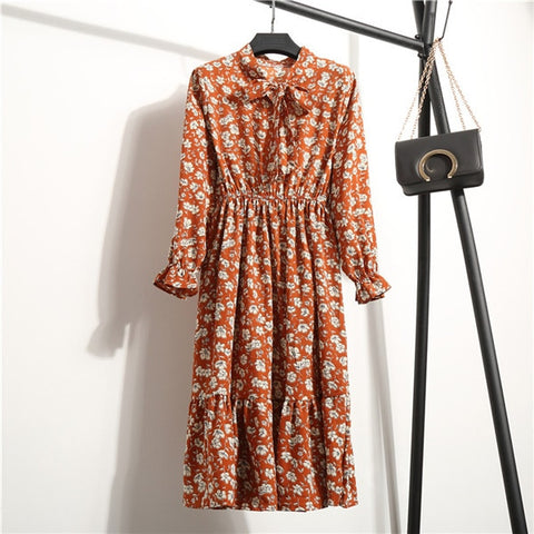 Vintage Prints Bowtie Chiffon Dress - 10 Styles