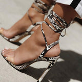 Cassandra Snake Pattern Lace-Up Sandals