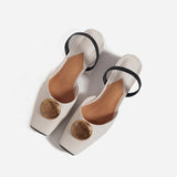 Bijou Metal Button Slingback Sandals - 2 Colors