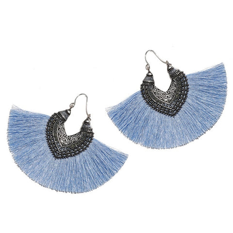 Big Fan Tassel Tribal Bohemian Statement Earrings - 14 Colors
