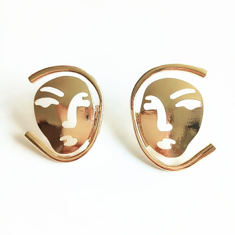 Kei Abstract Metal Mask Earrings - 2 Colors