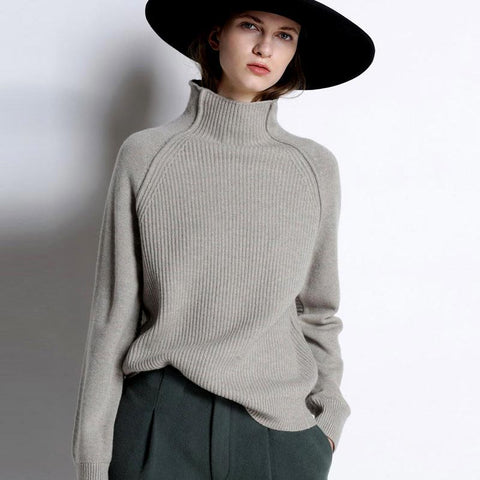Lori Funnel Turtleneck Cashmere Sweater - 4 Colors