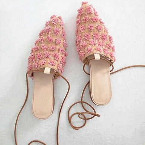 lysa Pink Boucle Lace-Up Mules