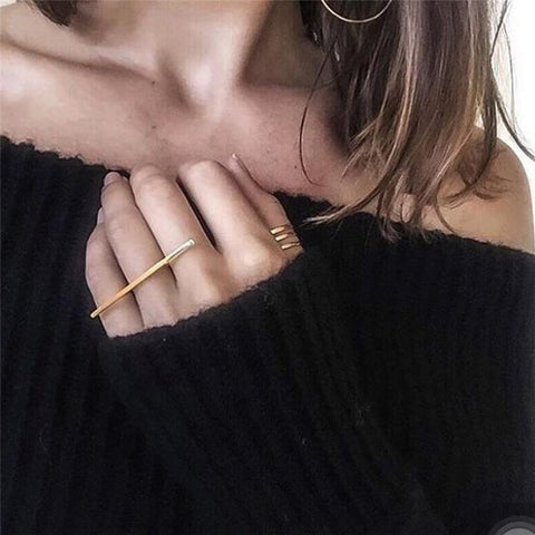 Long Minimalist Gold Bar Ring