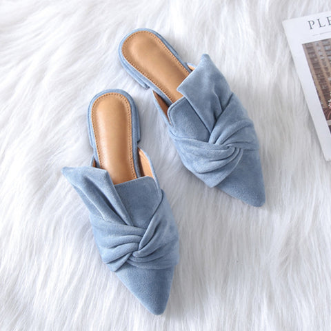 Milani Bowtie Suede Mule Slippers - 3 Colors