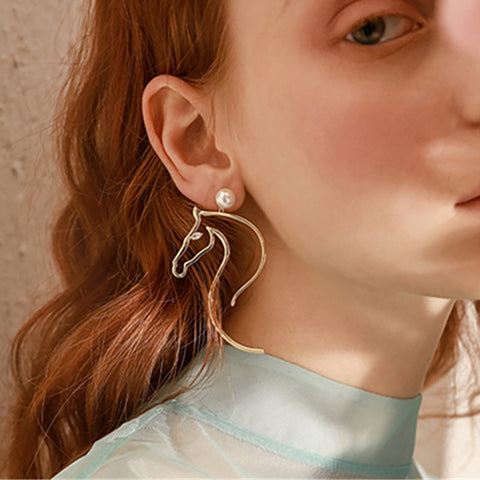 Abstract Horse Head & Pearl Earrings