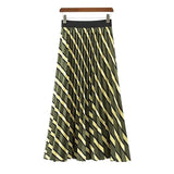 Sylvia Green Striped Pleated Midi Skirt