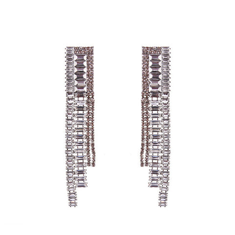 Square Crystal Tassel Earrings - 6 Colors
