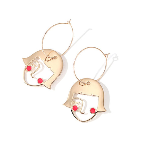 Girl Face Figure Pendant Hoop Earrings