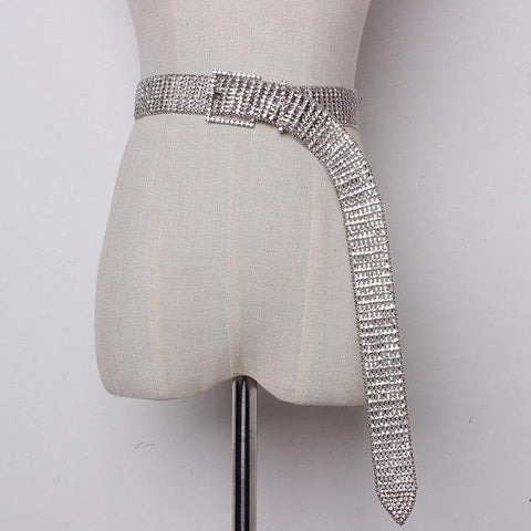 Silver Rhinestone Crystal Extra Long Belt