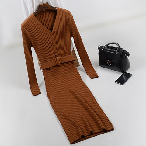 Bryony Ribbed V-Neck Knit Dress - 4 Colors